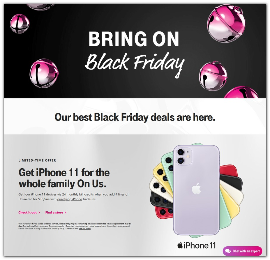 T-mobile.com Black Friday page 1